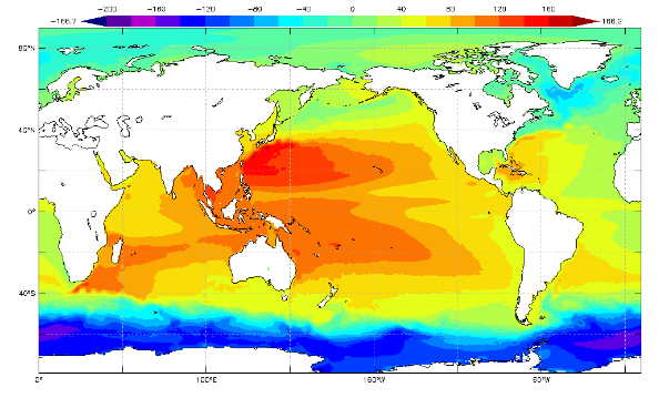 Pacific Ocean Topographic Map.Asia Pacific Data Research Center 1992 2012 1992 2002 Mean Dynamic
